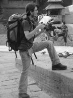 backpacker in durbar square, kathmandu