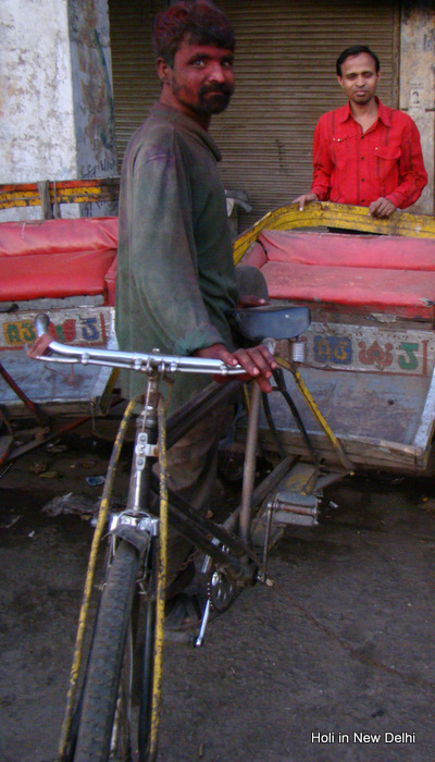 Holi, Delhi, GB Road. 'Best Mechanic', the man smeared with colors told me