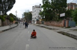 Me in the middle of the road. The only place that looked safe outside the ministerial quarters.