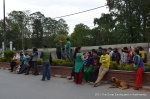 People gathered in the middle of the road in front of Pulchowk Engineering Campus  immediately after the earthquake
